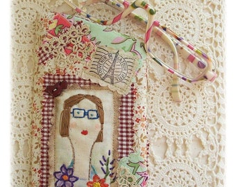 Mademoiselle Sarah -Smartphone, Glasses Pouch , Crazy patchwork, primitive hand drawn, hand embroidered in Australia