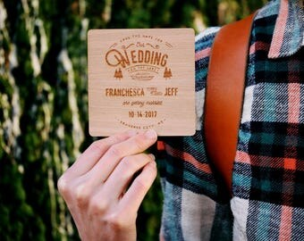 Rustic Wood Engraved Save the Dates: Woodland Canoe and Trees