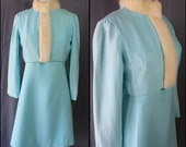 RESERVED 60s Blue Silk Suit Rabbit Fur Collar Party Cocktail Dress Vintage Wedding