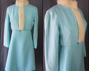 60s Blue Silk Suit Rabbit Fur Collar Party Cocktail Dress Vintage Wedding