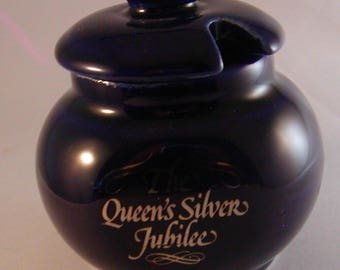 Blue Mustard Pot/Jar w/Lid Queen's  Silver Jubilee 1977 The Mustard Shop Norwich