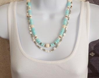 Blue Peruvian Opal Necklace, Sterling Silver, Double Strand with White Shiva Shells and Aqua Terra Jasper, Beach Wedding, Summer Jewelry