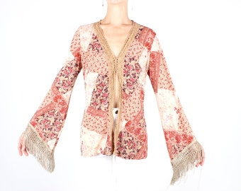 SALE - 90s Does 70s Hippie Patchwork Print Flared Sleeve w/ Fringe Trim Peasant Long Sleeve Crop Top