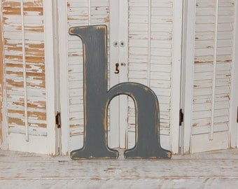 """Distressed Wooden Letter b d f h k l t Wall Letters 14 - 16"""" Tall Lowercase Wood Letters"""