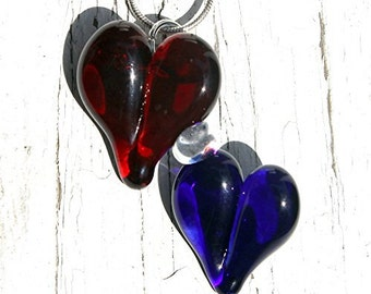 Double Heart Pendant, Red and Blue Lampwork Glass Necklace, Hand Blown Jewelry Dual Hearts