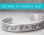 Latitude Longitude Bracelet, Coordinate Bracelet, Coordinate Cuff, Personalized Gift Idea, Personalized Jewelry, Custom Coordinates