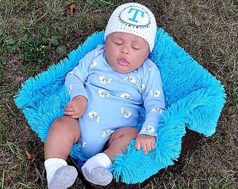 Monogram Hat - Initial Gift - Newborn Beanie - Baby Boy Gift - Newborn Boy Hat - Boy Monogram