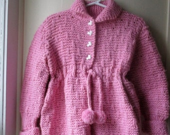 ON SALE Vintage handknit baby sweater coat & tam set / Cozy knit matinee sweater / Dusty Rose  2 piece set / baby girl 18 to 24 months