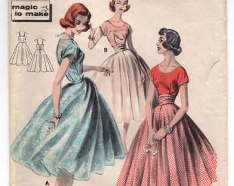 """1950's Butterick One-Piece Dress with Princess Dress and Slip Pattern - Bust 32"""" - No. 8162"""