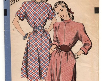 """1950's Hollywood One-Piece Dress with Two style of sleeves Pattern - Bust 30"""" - No. 1909"""