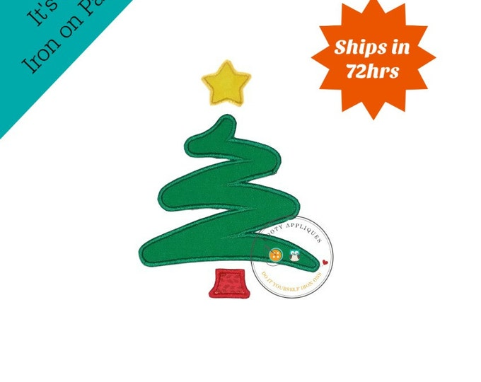 Green Scribble Christmas tree with yellow star machine embroidered fabric iron on no sew patch, ready to ship holiday applique