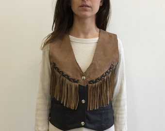 SALE- Price Reduced- Vintage 70s Brown and Black Fringed Leather Vest - Size S - Small