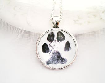 PAW PRINT Charm Necklace Dog Paw Cat Charm Pet Lover Gift Dog Lover Gift Thumb Prints Charm Necklace Memory Charm Dog or Cat Sympathy Gift