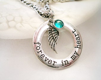 Memory Necklace Forever in My Heart Charm Mom Gift for Grandmother Jewelry Sympathy Gift Memory Charm Angel Wing Charm Necklace Gift
