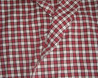 Cotton Bath Robe - Calf Length Wrap Robe - Red Checked Plaid -Unisex Men's S/M