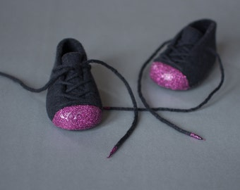 Graphite Black Baby Booties for Baby Girl - Fuchsia Glitter - Felt Booties - Fuchsia Booties - Dark Gray Booties - Laced Up Pram shoes