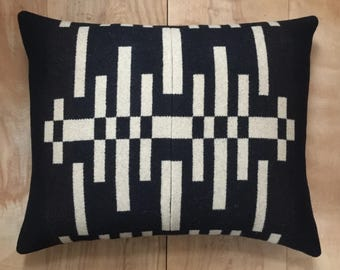 Wool Pillow - Black Beige Geometric Tribal Modern