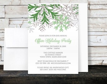 Holiday Party Invitations - Green Silver Snowflake design on White for Christmas or any Winter Party - Printed Invitations