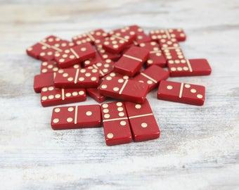 Vintage Dominoes, Catalin Red (set of 27)
