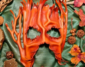 Leather Tree Mask, Dryad Mask, Tree Folk Mask, Groot Mask, Forest Spirit Leather Mask, Wooden Face Mask in Leather (86)