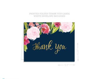 Thank you Cards -  Wedding thank you cards - Navy & Gold thank you cards - Bridal shower thank you cards - Folded thank you cards - A2 Cards