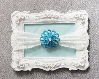 Wedding Garter Bridal Garter Lace Garter - Teal Garter Floral Garter - Toss Garter Prom Garter Something Blue Garter Boho Rustic Wedding