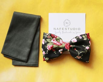 Men's Bow Tie Pre-tied Bow Tie For Men - Black Flower Bow Tie - Rustic Rose Floral Bow Tie - Wedding Gift Groom Baby Boy Toddler Child