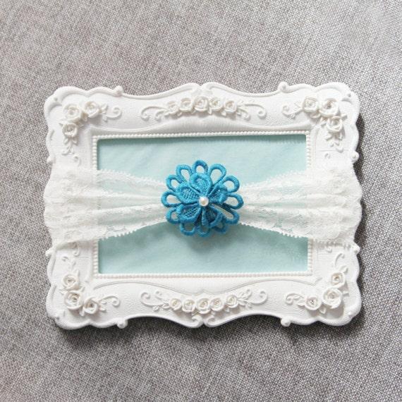 Wedding Garter Bridal Garter Lace Garter - Teal Garter Floral Garter - Toss Garter Prom Garter Something Blue Garter Boho Rustic Wedding