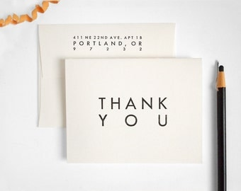 Modern Letterpress Thank You Cards - Black and White Folded - UTILITY