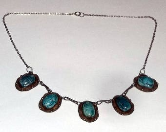 Vintage Necklace, Blue Scarabs in Sterling Silver