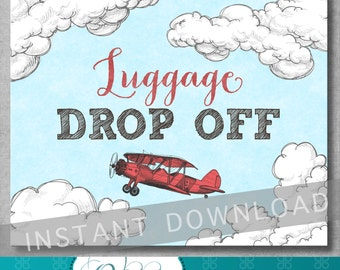 Luggage Drop Off Sign - 8x10 inches - Vintage Airplane Baby Shower - Birthday - Boy - Red and Blue - Digital - Printable - INSTANT DOWNLOAD