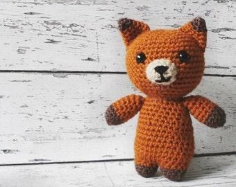 Evelyn the Fox, Crochet Fox Stuffed Animal, Fox Amigurumi, Plush Animal, Made to Order