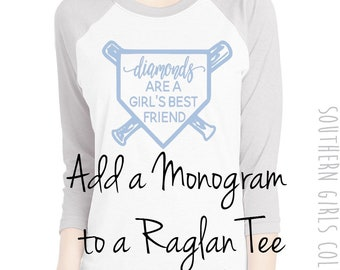 Add-on to Add a Monogram to a Raglan Tee - Upgrade to Add to Monogram - Monogram My Shirt - Add on Listing