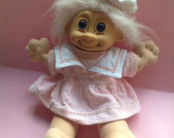 1980's Vintage Large Russ brand Troll Doll, light pink hair, blue eyes, pink corduroy dress, plush doll, egst, Greece