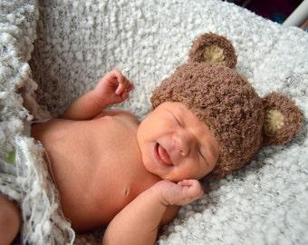 Baby Bear Hat - Brown Bear Hat - Baby Girl Hats - Baby Boy Hats - Newborn Photo Prop