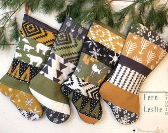 Modern Christmas Stocking Set of 4, Handmade, Personalized, Polar Bear, Reindeer, Quilted Stocking, Home Decor, Green Yellow, Sage, Caramel