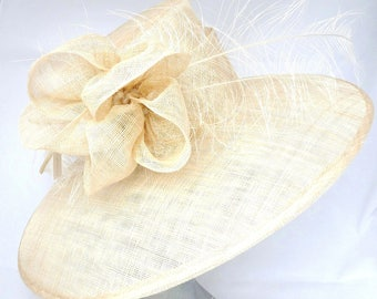 TIFFANY - Natural Cream Hat Hatinator Headpiece for Weddings, Mother of the Bride, Royal Ascot, Kentucky Derby, Ladies Day Races, Derby
