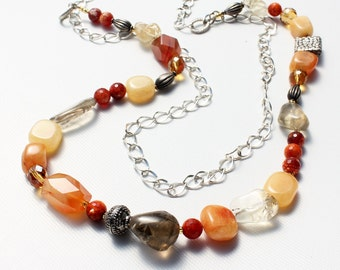 Orange Necklace, Multi Stone Necklace, long gemstone necklace, Jade, Agate, Citrine, original, artisan, silver finish, gift for her,0482