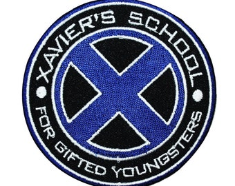 """X-Men Logo """"Xavier's School for Gifted Youngsters"""" Marvel Iron-On Patch Applique"""