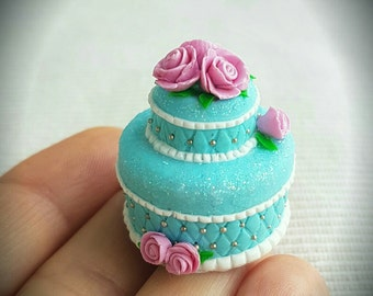1:12 Scale Miniature Food, Dollhouse Food, Miniature Cake for Dollhouse, Decorated Cake, model, gift, play food, handmade, polymer clay