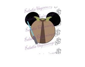 Disney Digital File, DIY Print Iron On-Disney Star Wars Yoda Jedi Mickey Ears JPG File