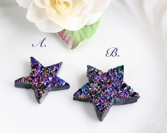 Star Purple Titanium Druzy Cabochons, Hand carved star, your choice
