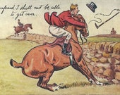 Stonewalled - Antique 1900s Artist-signed Foxhunt Equestrian Comic Postcard