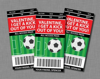 Soccer Valentine Cards kids sports boys girls Printable Classroom PDF