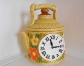 Ceramic Teapot Cookie Jar / 70's Mod decor / Orange / Yellow / 70s kitchen