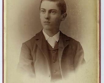 Antique Cabinet Card Photo of Teenage Boy from Salem Oregon