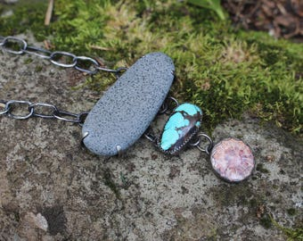 Fossil Coral and Turquoise Natural History Necklace