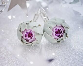 Flower earrings, khaki flower earrings, gift idea, gift for woman, gift for her, khaki earrings, purple flower earrings, purple earrings