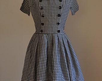1950s Gingham Drop Waist Dress w Built in Crinoline