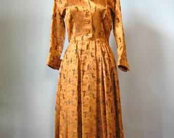 Ceil Chapman Dress /Vtg 50s/New Look Chinoiserie Copper Brocade Ceil Chapman Dress / Silk Brocade Cocktail Dress